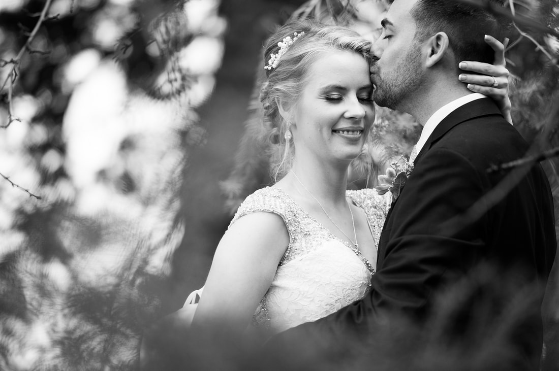 bride and groom portraits, black and white
