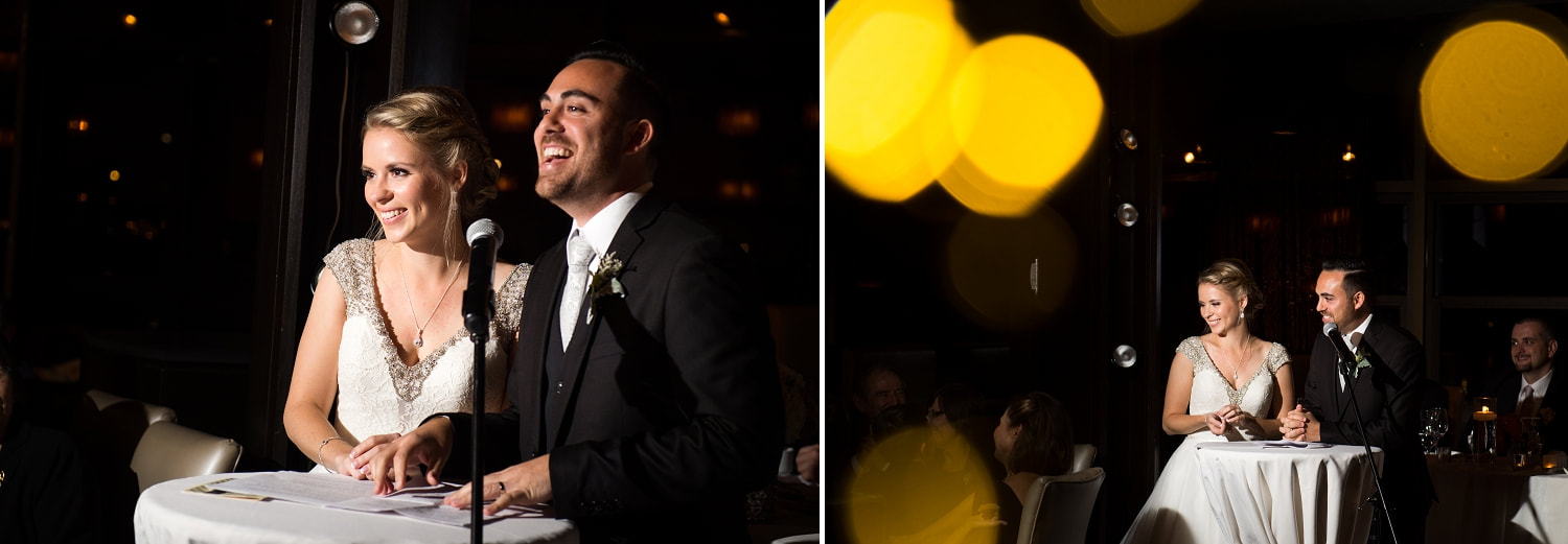 bride and groom speeches, toasts, roasts, Lago Restaurant, Lago wedding