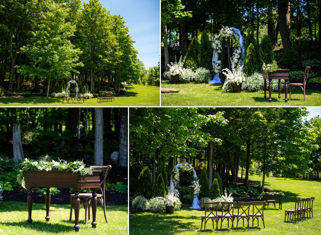 wedding ceremony site, Colonial Flowers, ceremony details