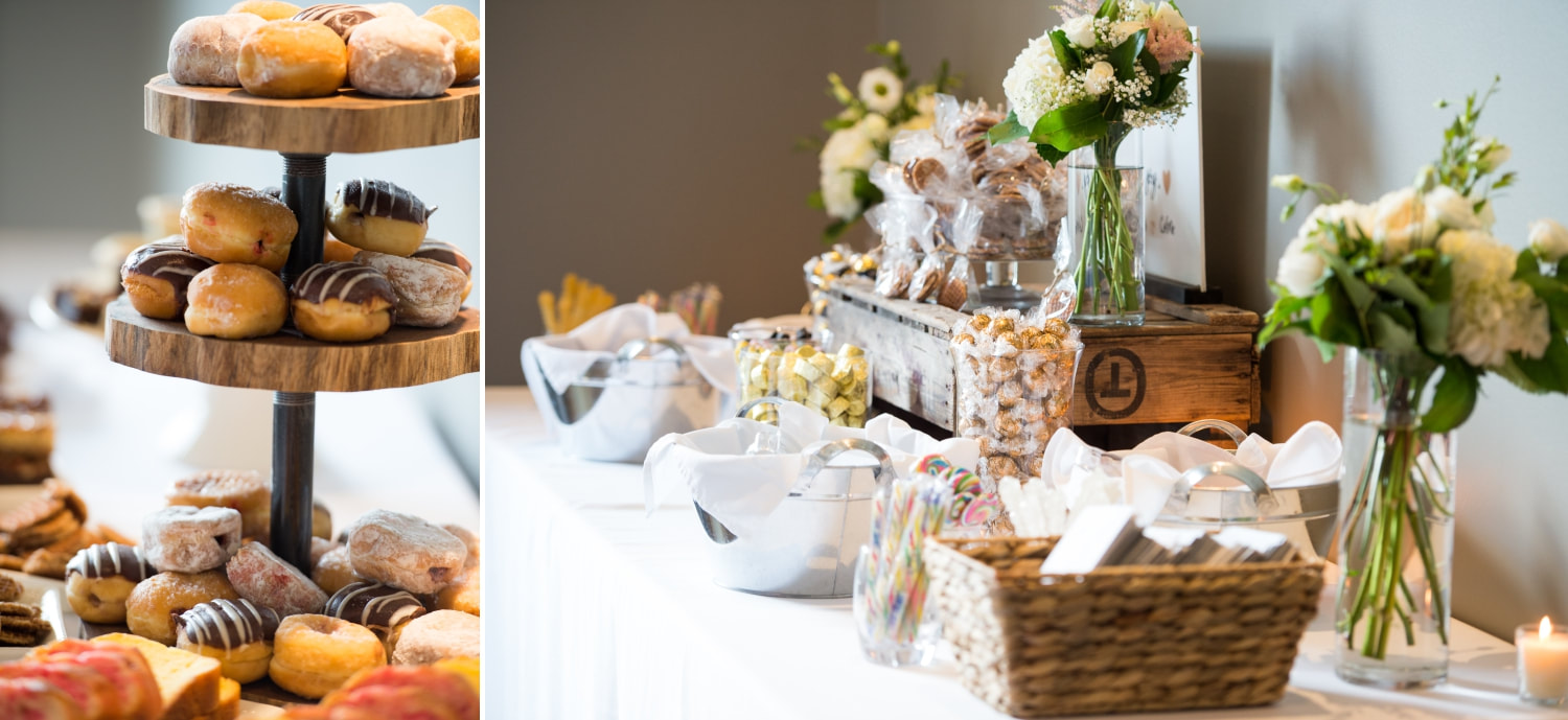 sweet table, doughnuts, Le Belvedere wedding, reception