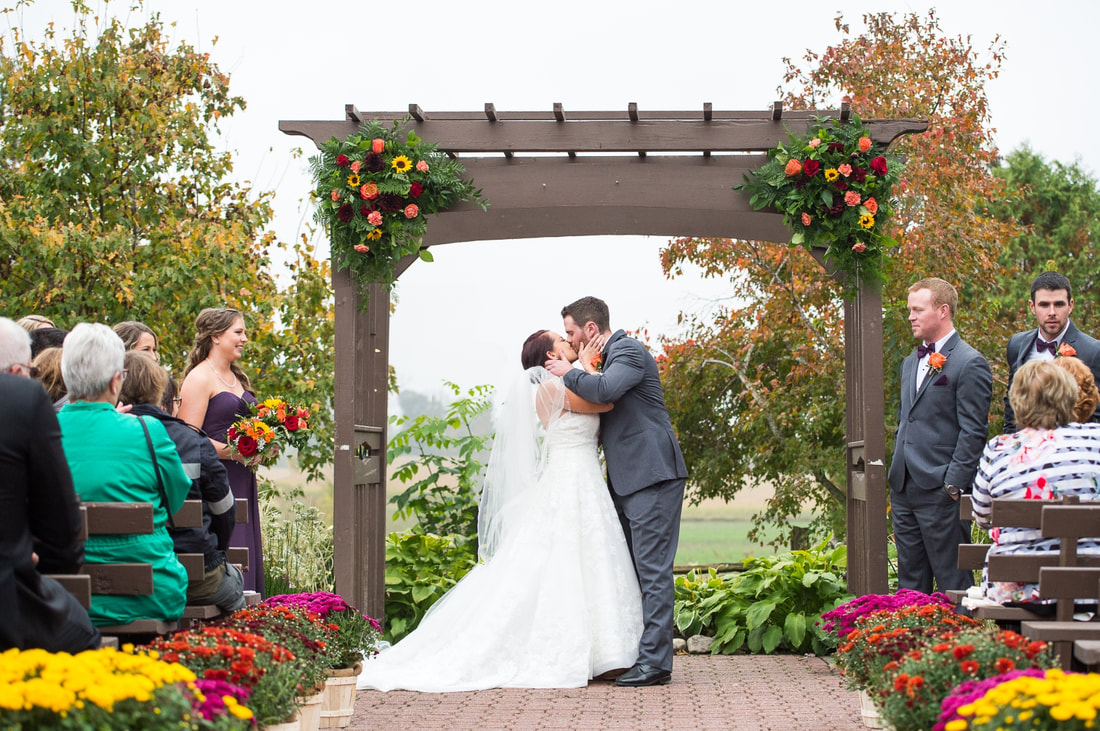 Strathmere wedding ceremony, The Lodge, first kiss, outdoor ceremony