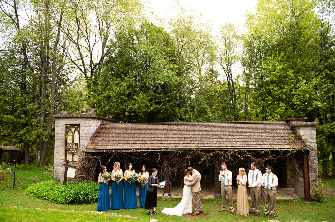 first kiss, bridal party, Mill of Kintail wedding, Cloister on the The Hill