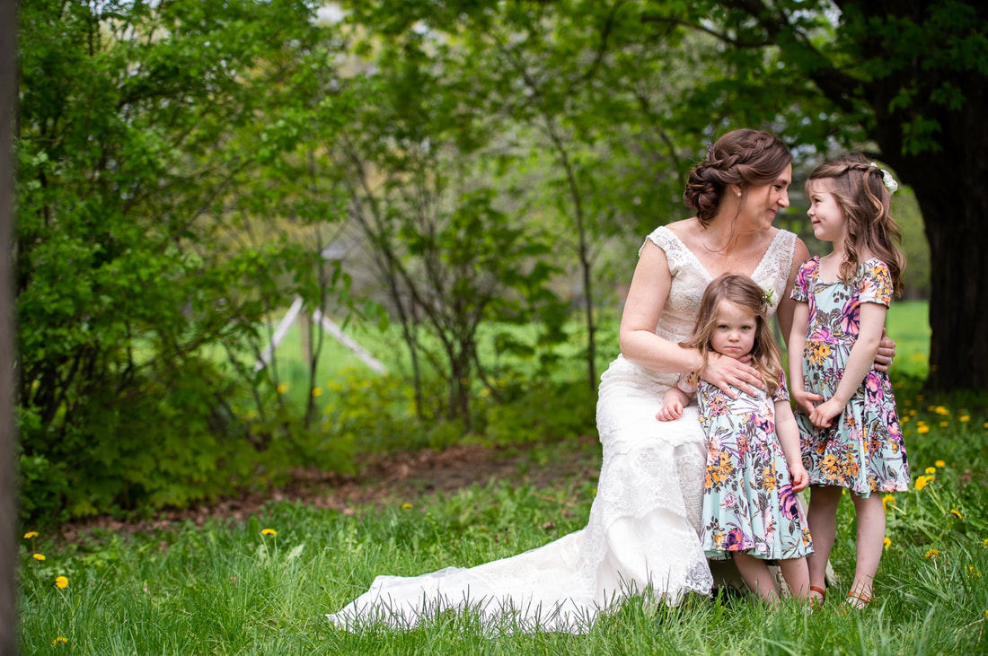 Mill of Kintail wedding, mother and daughters