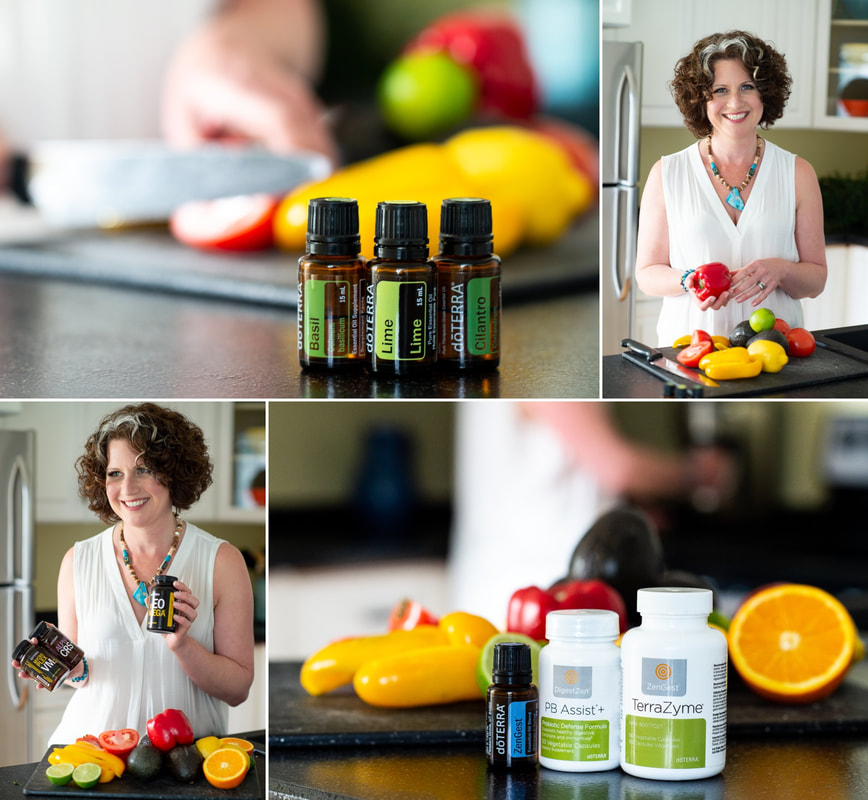 TerraZyme, LLV, cooking with essential oils, doTerra, Vickie Dickson, wellness advocate, branding and content creation session, home office