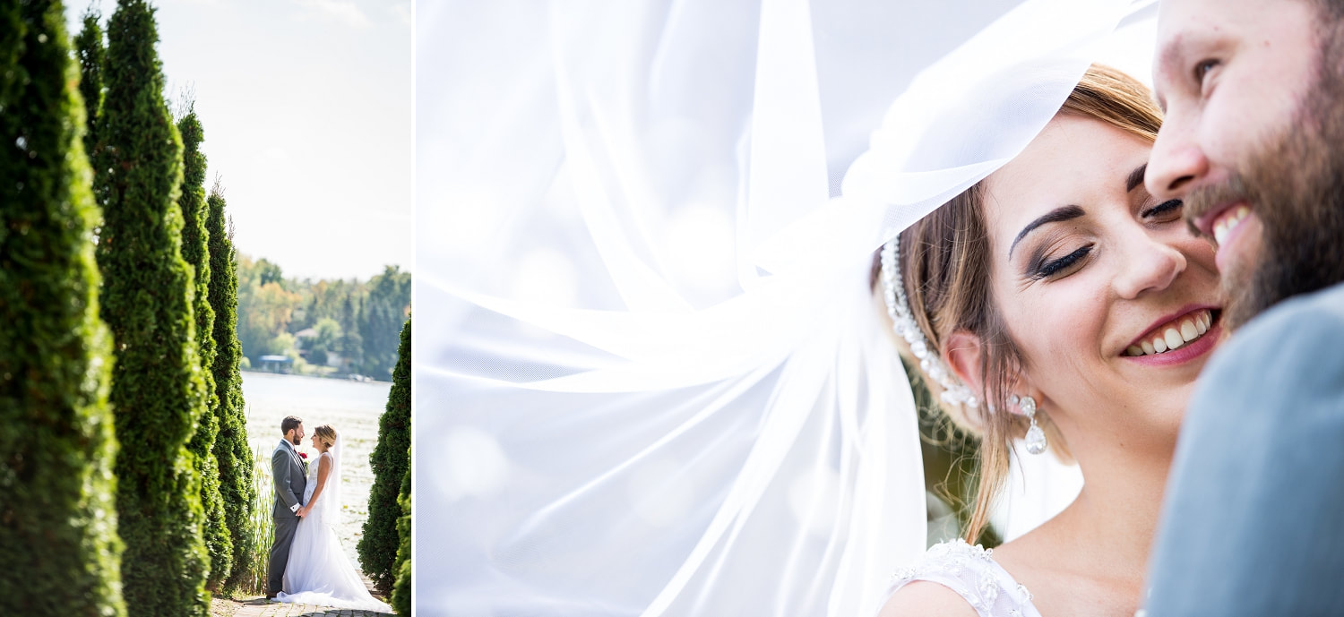 bride and groom, flowing veil photo