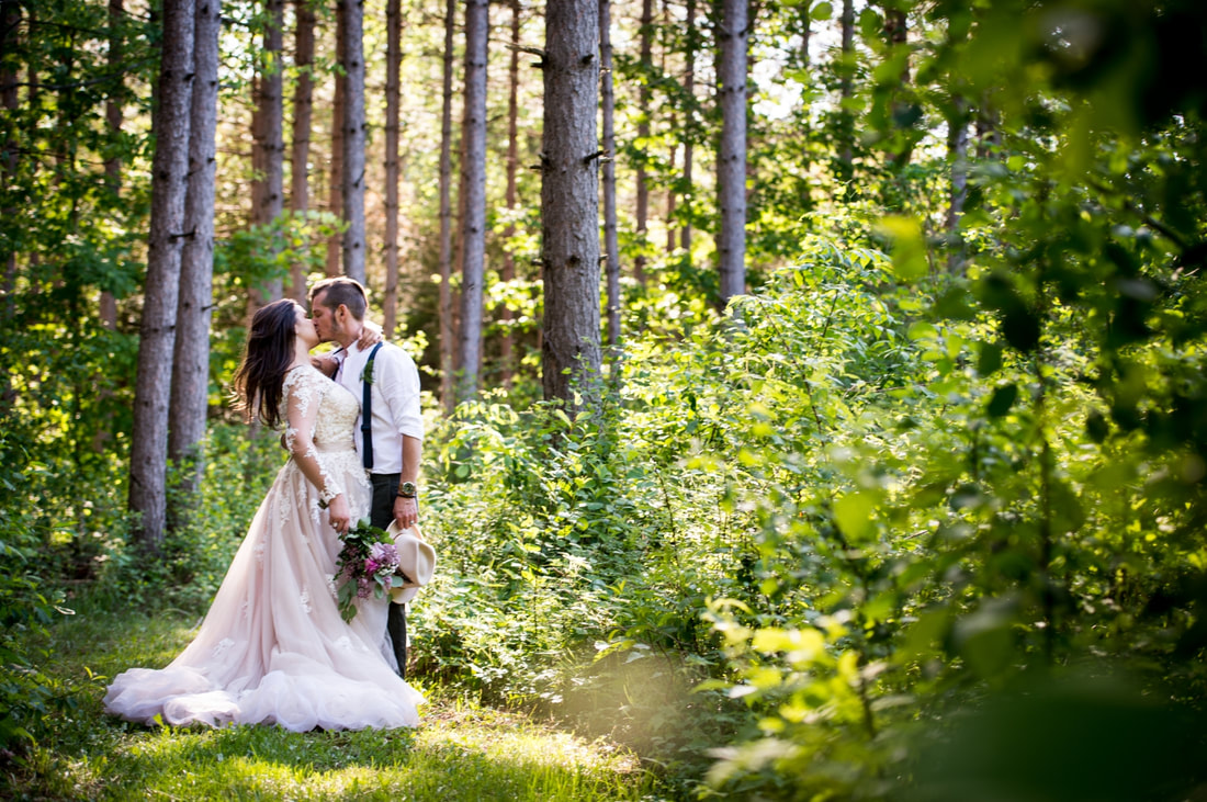 forest wedding, bride and groom portraits