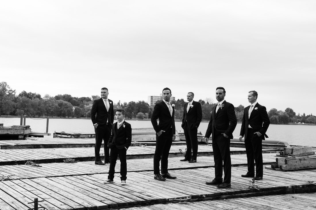 groomsmen, black and white wedding photography, Dow's Lake