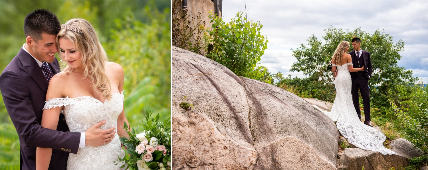 Le Belvedere look-off, Wakfield, Gatineau Hills, bride and groom, bridal portraits