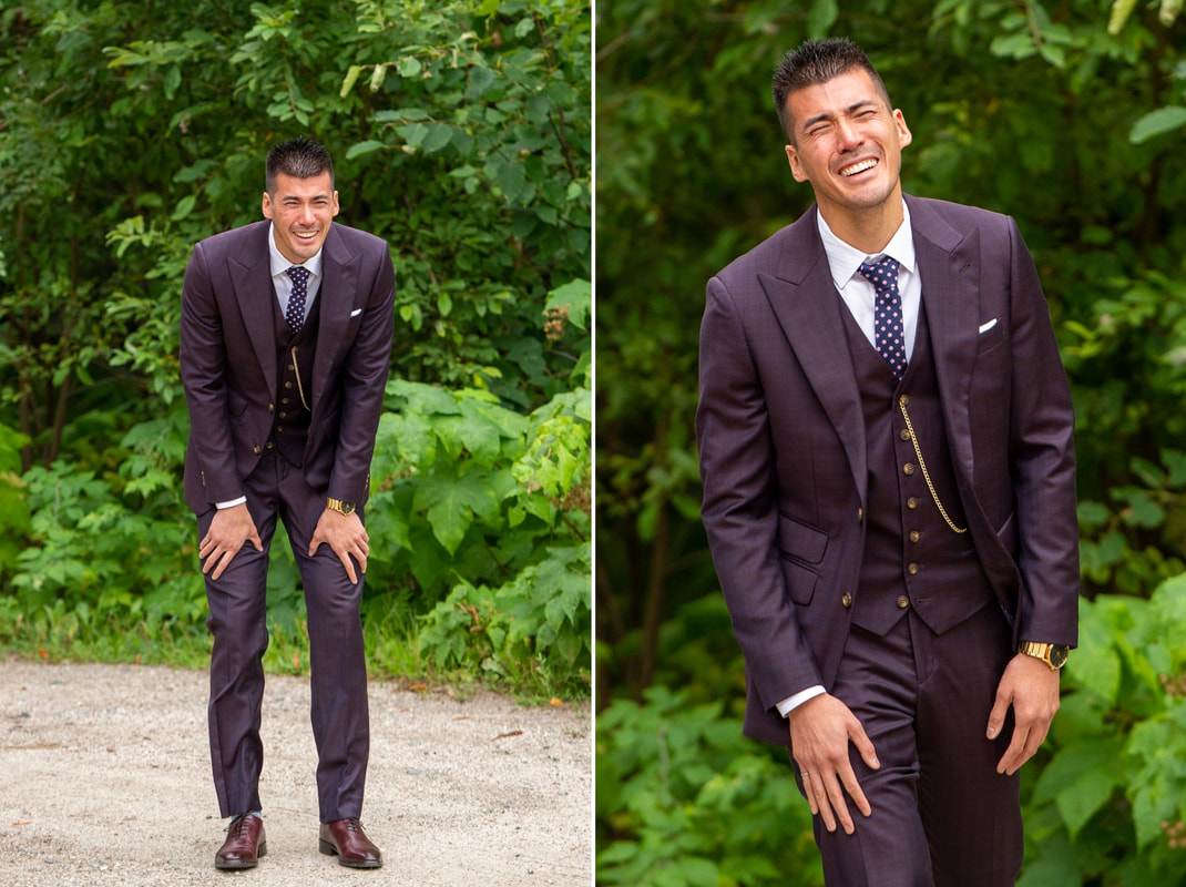 Le Belvedere wedding, groom, first looks, Indochino Menswear
